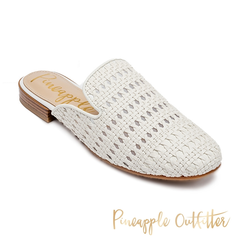 Pineapple Outfitter-HADIA 經典款素色編織平底穆勒鞋-白色 product image 1