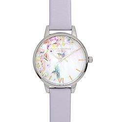 Olivia Burton 英倫復古手錶 鳥與花園珍珠母貝錶盤 粉紫色真皮錶帶銀框30mm