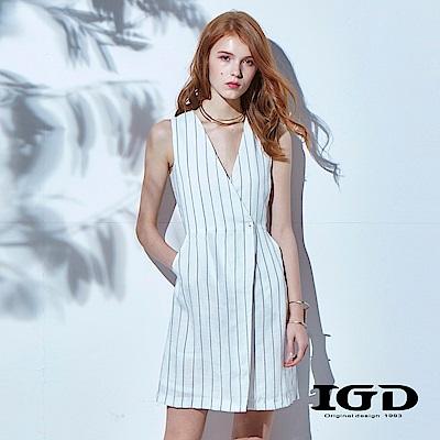IGD英格麗 優雅細條紋V領設計洋裝