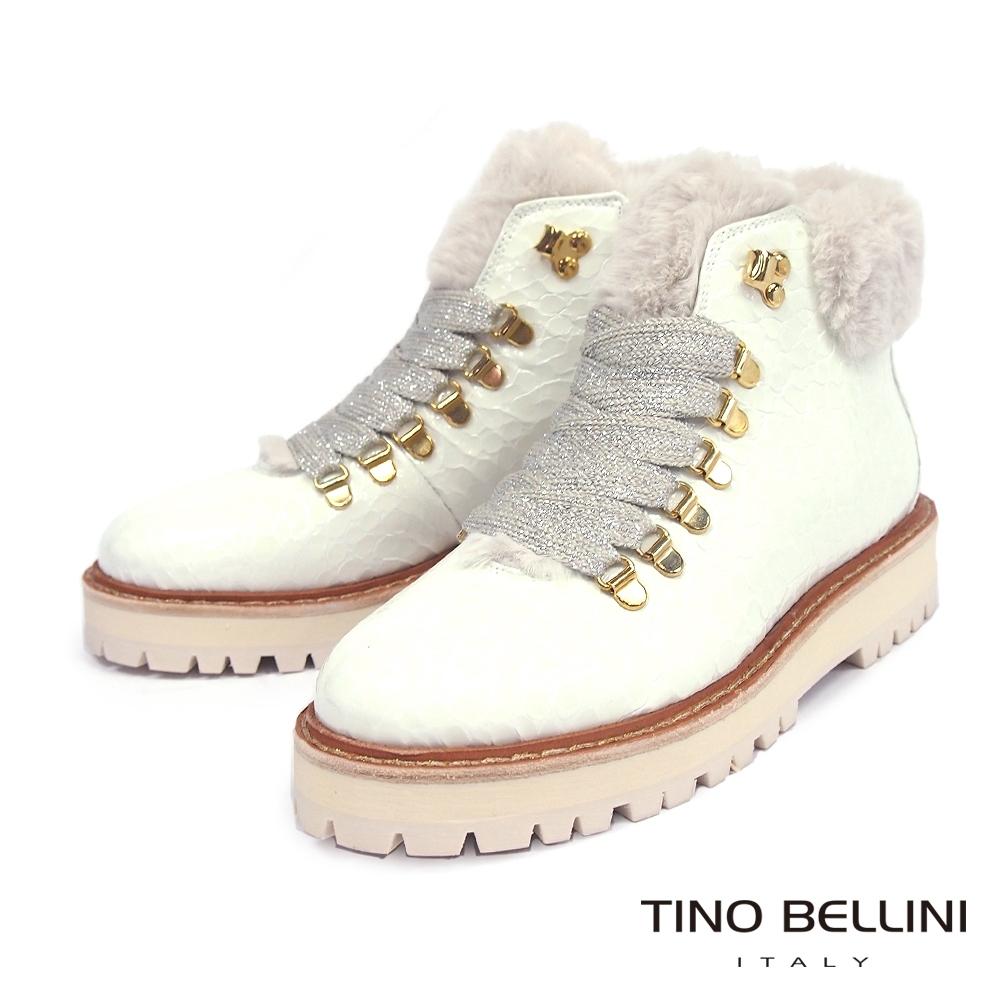 Tino Bellini葡萄牙進口毛領綁帶厚底短靴_白