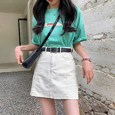 韓國空運 A字剪裁包臀牛仔短裙-2色-TMH