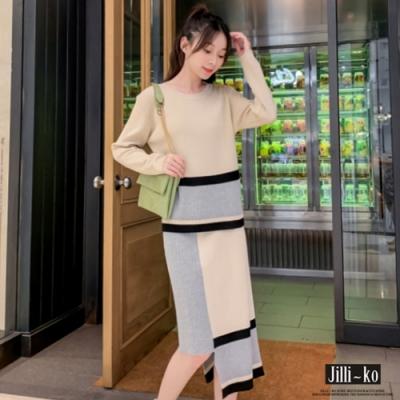 JILLI-KO 裙襬設計剪裁兩件式針織套裝- 黑/杏