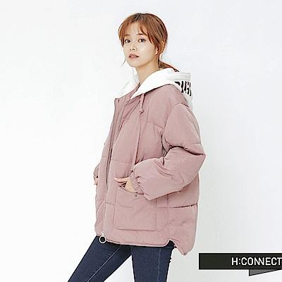 H:CONNECT 韓國品牌 女裝-連帽抽繩鋪棉外套-粉
