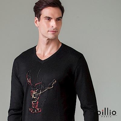 歐洲貴族 oillio 長袖線衫 手繡線條龍蝦 小V領款式 黑色
