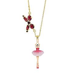 Les Nereides 優雅芭蕾舞女孩系列 桃粉色澎澎裙女孩蝴蝶結金色項鍊