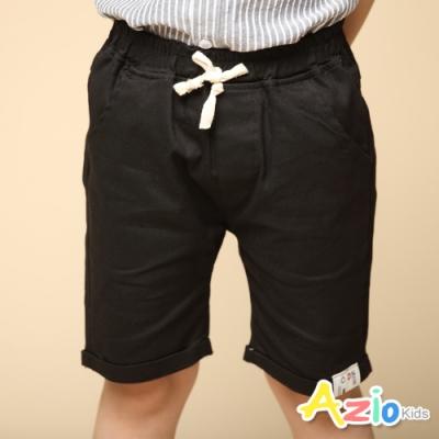 Azio Kids 男童 短褲 褲管布標後口袋車線純色休閒短褲(黑)