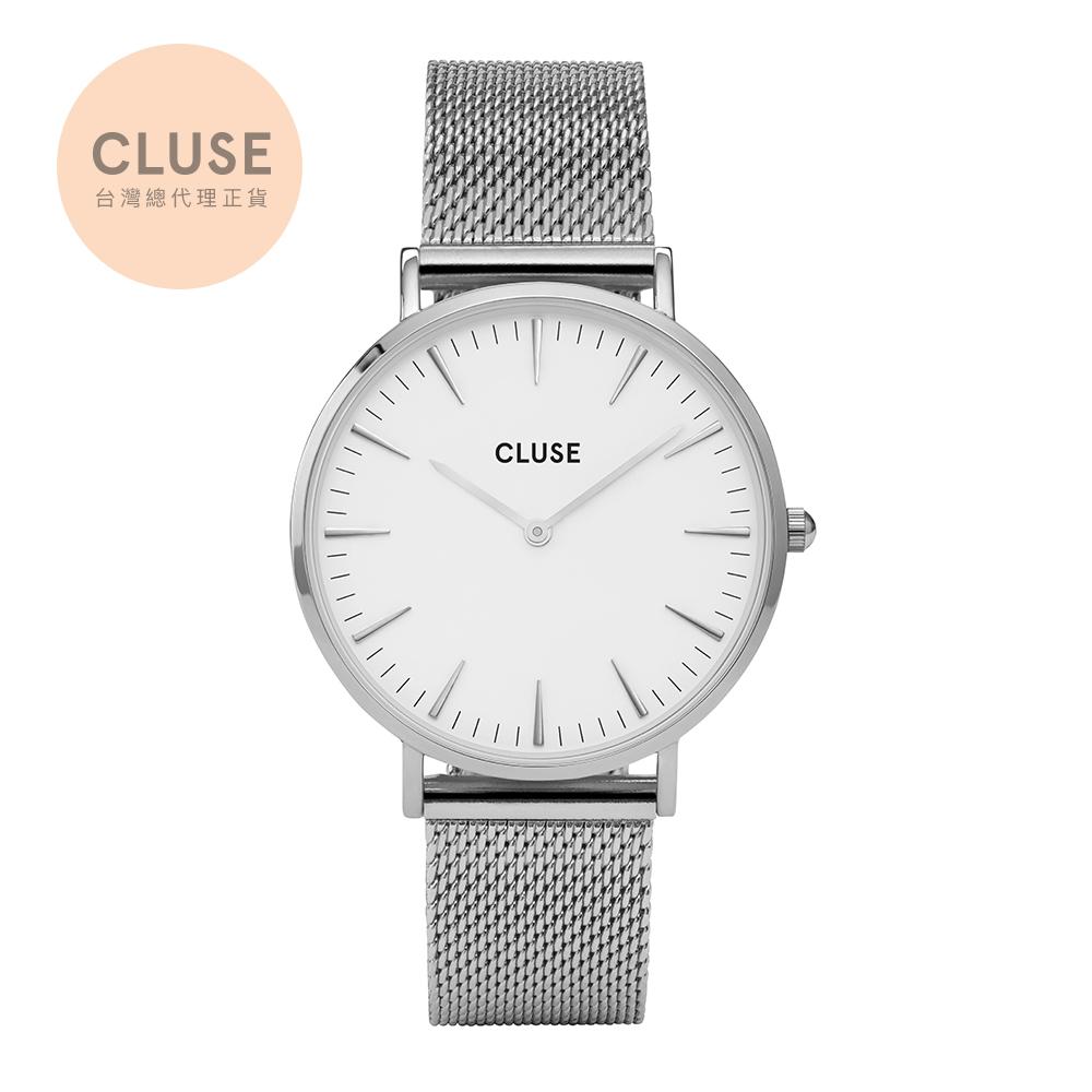 【公司貨】CLUSE La Boheme 不鏽鋼系列腕錶 (銀框/白錶面/銀錶帶)