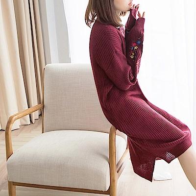 質感刺繡花朵造型粗針織洋裝-OB大尺碼