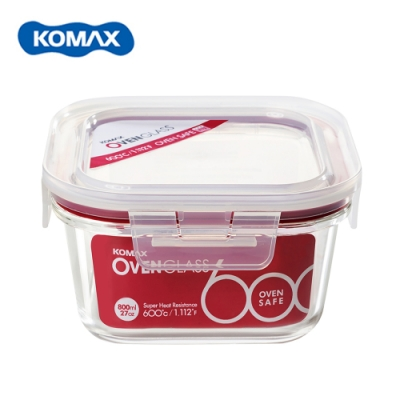 韓國Komax 扣美斯耐熱玻璃正型保鮮盒(烤箱.微波爐可用)800ml