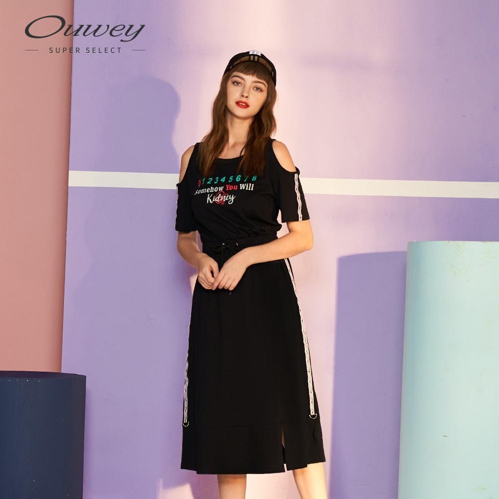 OUWEY歐薇 撞色標語露肩洋裝(黑)
