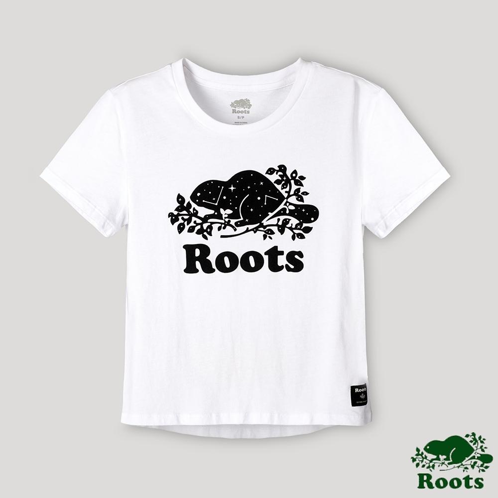 Roots 女裝- 璀璨銀河系列 星座海狸LOGO短版T恤-白色