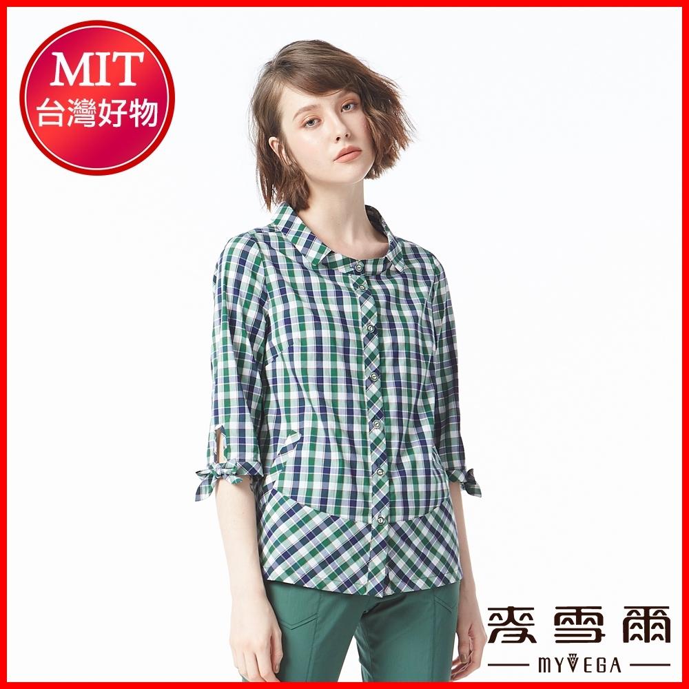 麥雪爾 格紋七分袖蝴蝶結裝飾襯衫