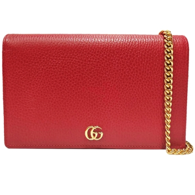 GUCCI GG Marmont系列荔枝紋牛皮金屬雙G LOGO暗壓釦手拿/斜背包(紅色)