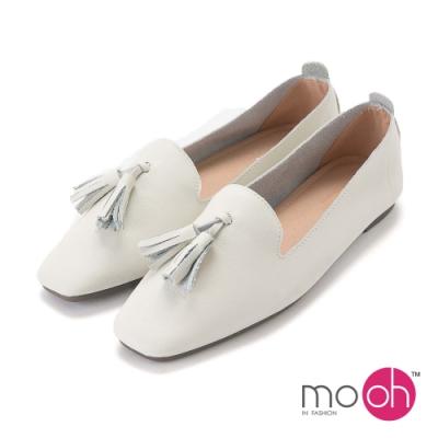 mo.oh-真皮流蘇娃娃鞋小白鞋-米白色