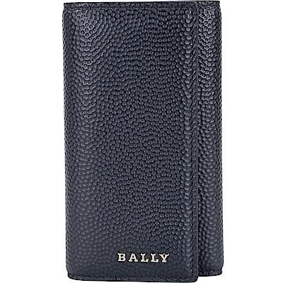 BALLY NANTOS 銀字壓紋小牛皮鑰匙包(夜藍色)
