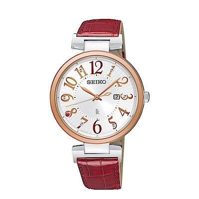 SEIKO LUKIA 精工/時尚耀眼太陽能女腕錶/紅/V137-0CW0R.SUT336