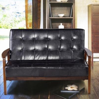 Ally愛麗-日式經典復古沙發116cm-兩人坐-皮沙發黑色-強化版組裝好-
