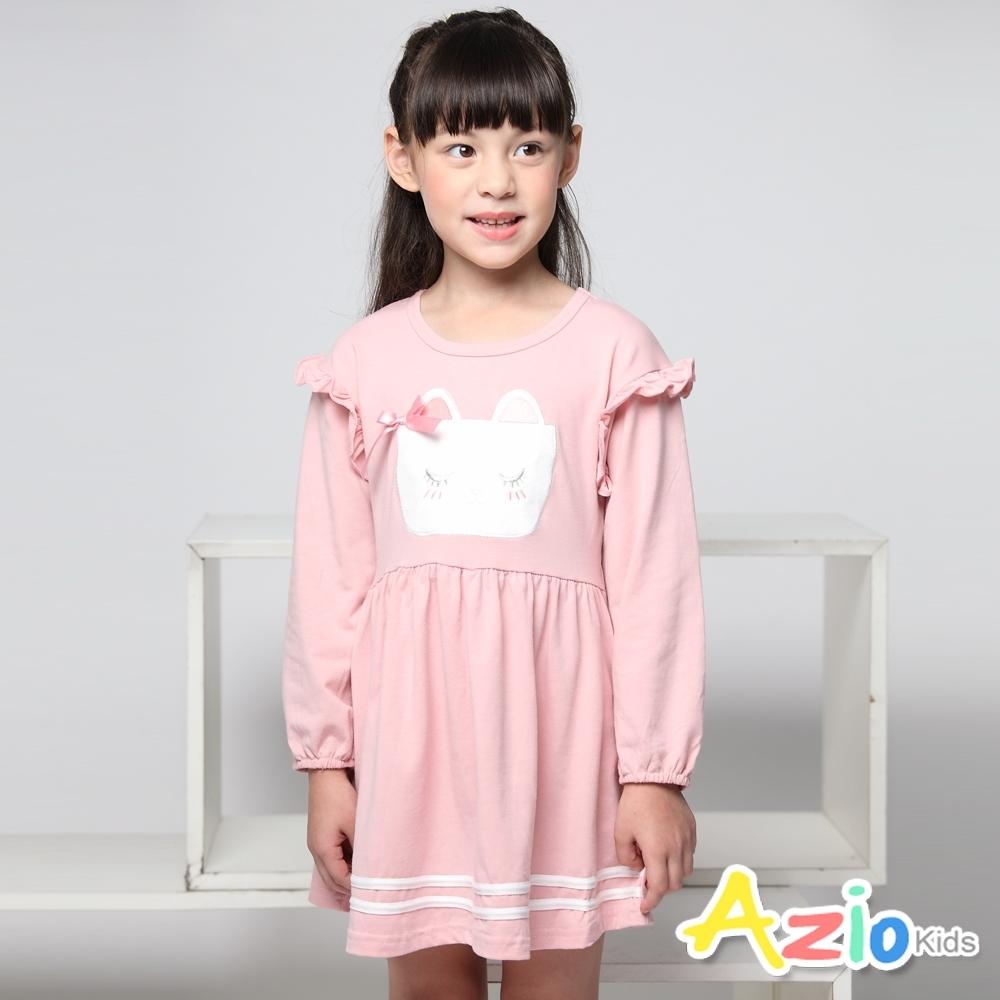 Azio Kids 女童 洋裝  蝴蝶結貓咪落肩長袖洋裝(粉)