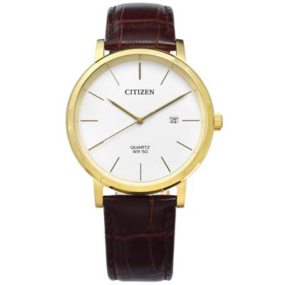 CITIZEN 極簡礦石強化玻璃日期日本機芯壓紋真皮手錶-白x金框x咖啡/41mm
