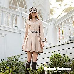 【Kinloch Anderson 金安德森女裝】蕾絲半開襟下活褶洋裝
