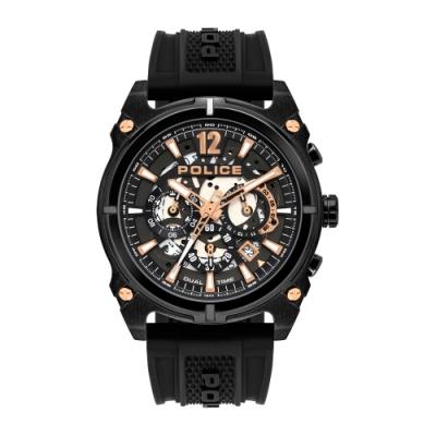 POLICE 跳躍時空雙時區潮流腕錶-黑(16020JSB-61P)45mm