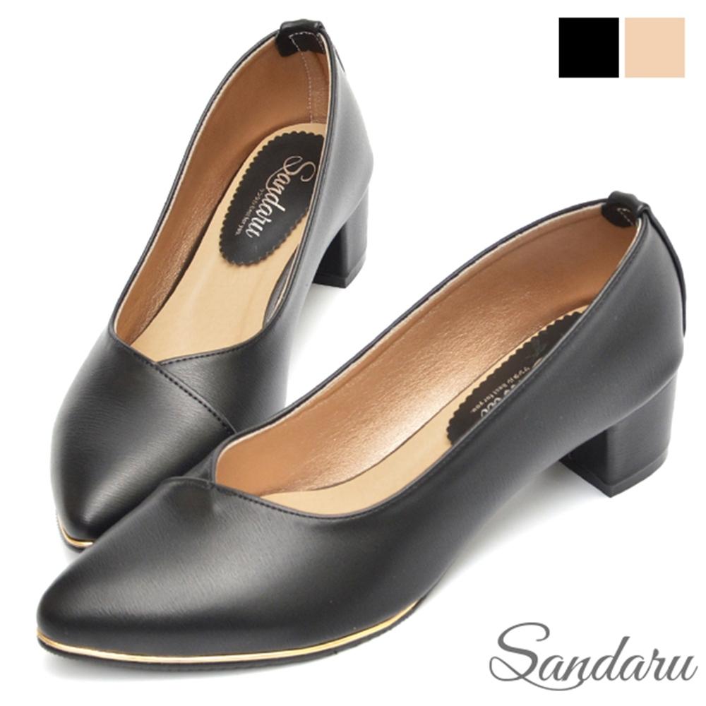 山打努SANDARU-OL中跟鞋 金線滾邊尖頭粗跟鞋-黑 (黑)