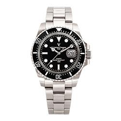 Valentino Coupeau 范倫鐵諾 古柏 陶瓷水鬼腕錶【銀色/黑面/鋼帶】