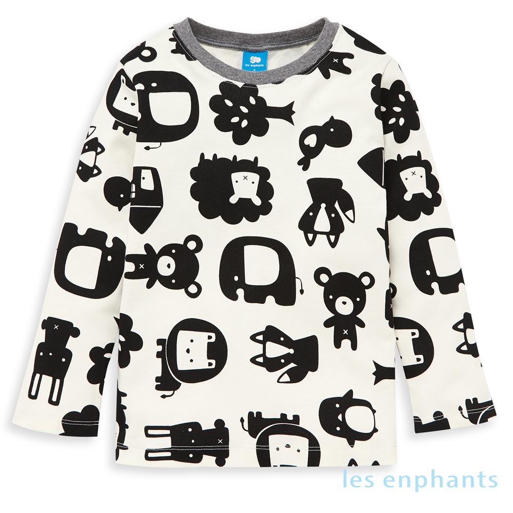 les enphants 有機動物園動物剪影上衣(黑色)