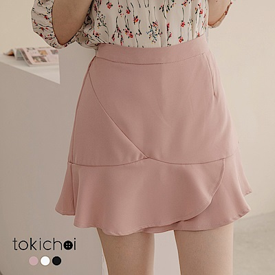 東京著衣 多色微甜蜜色荷葉剪接短裙-S.M(共三色)