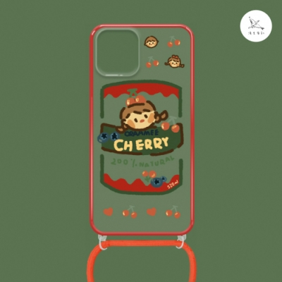 漁夫原創 iPhone 12 mini 手機殼 防摔保護殼 櫻桃果醬(紅邊) 透明軟殼 含斜跨掛繩