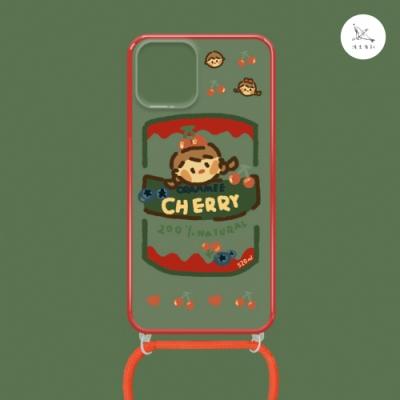 漁夫原創 iPhone 12 Pro Max 手機殼 防摔保護殼 櫻桃果醬(紅邊) 透明軟殼 含斜跨掛繩