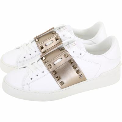 VALENTINO Garavani 古銅金牛皮拼接鉚釘小白鞋(女款)