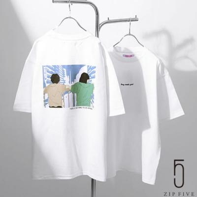 ZIP日本男裝 LOGO刺繡背後插畫設計短袖TEE (6色)