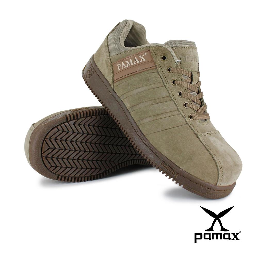 PAMAX帕瑪斯【經典休閒風頂級氣墊安全鞋】PT09115FEH-駝色反毛牛皮-寬楦鋼頭-反光設計