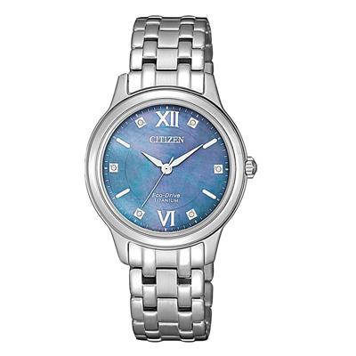 CITIZEN 晶彩綻放貝殼面女腕錶-藍(EM0720-85N)/30mm