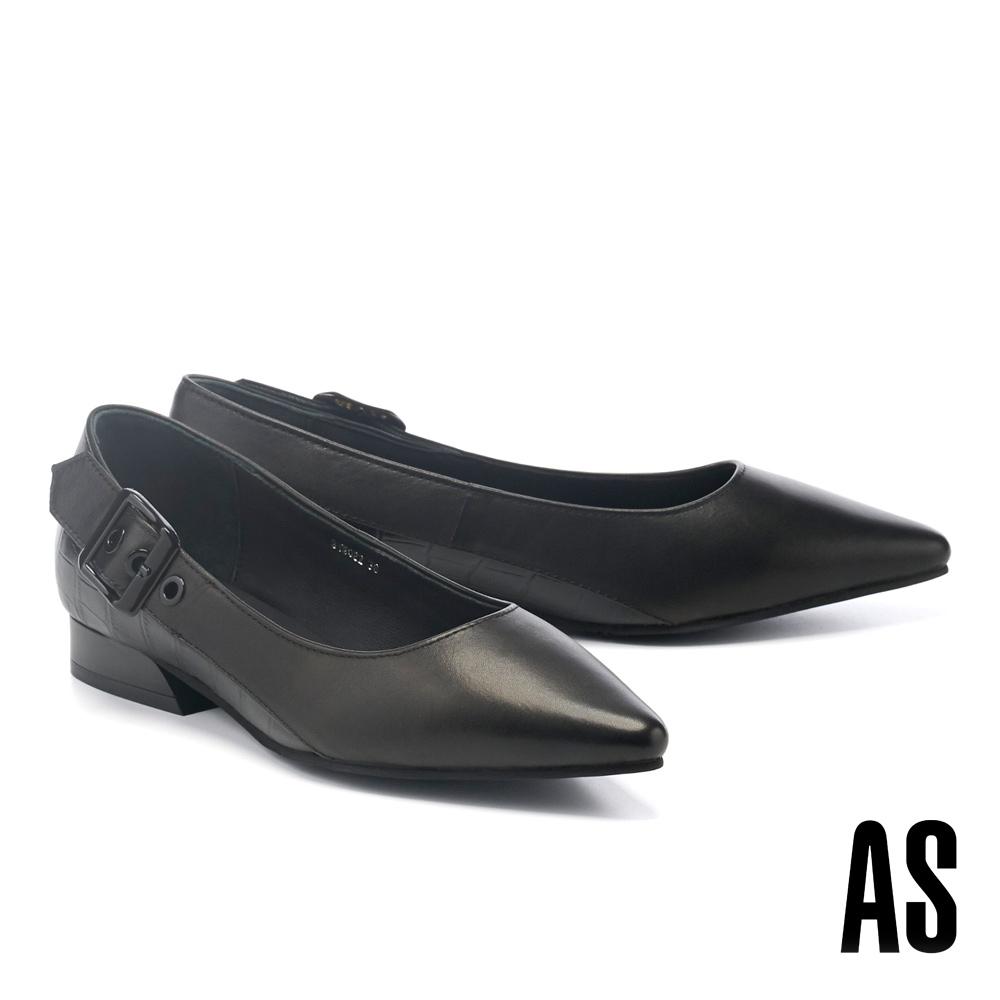 低跟鞋 AS 簡約個性帶釦全真皮尖頭低跟鞋-黑