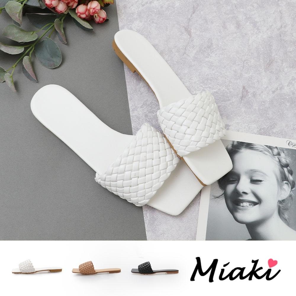 Miaki-拖鞋皮革編織方頭平底涼拖 product image 1