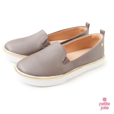 Petite Jolie--金屬飾邊亮面帆布鞋-暖灰