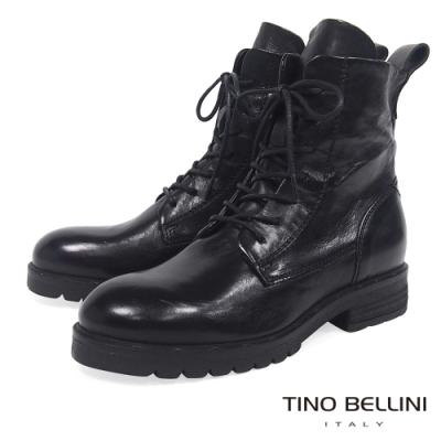 Tino Bellini 義大利進口個性綁帶全真皮工程靴_黑