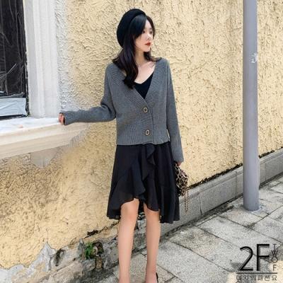 2F韓衣-V領落肩針織外套-3色-F