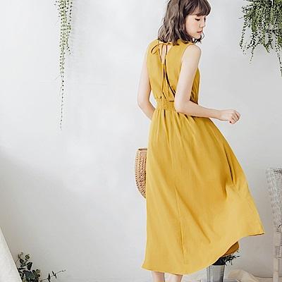 芥黃美背造型涼感不易皺縮腰長洋裝-OB大尺碼