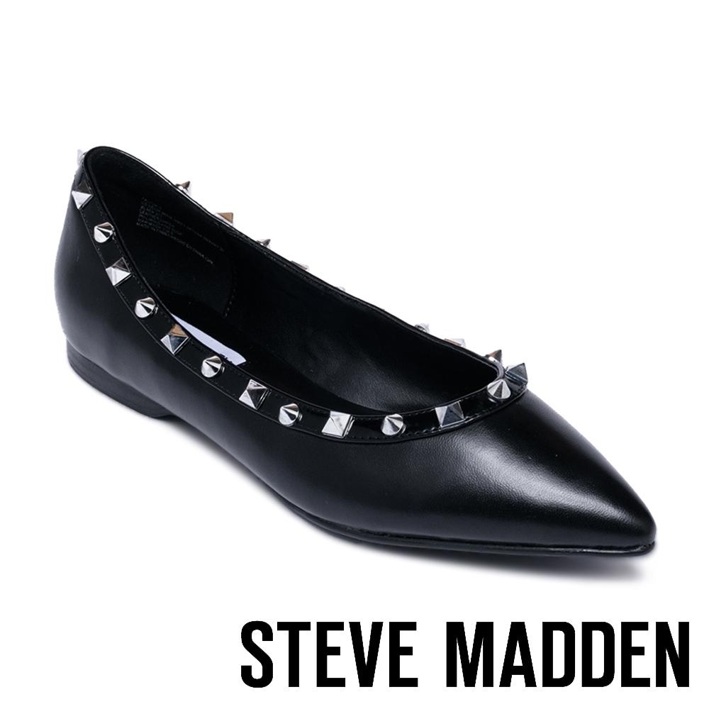 STEVE MADDEN FALICIA-S 摩登款 皮質鉚釘尖頭平底鞋-黑色