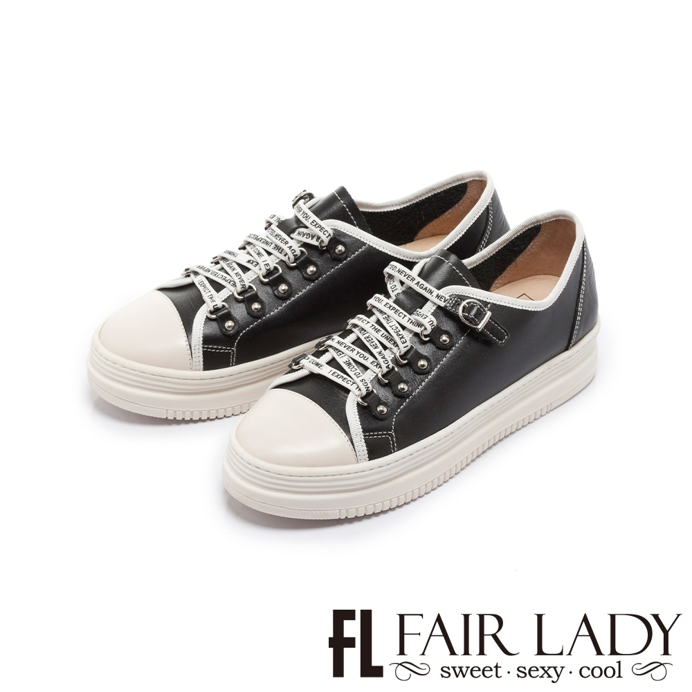 FAIR LADY 軟實力 經典復刻免綁帶厚底休閒鞋 酷黑