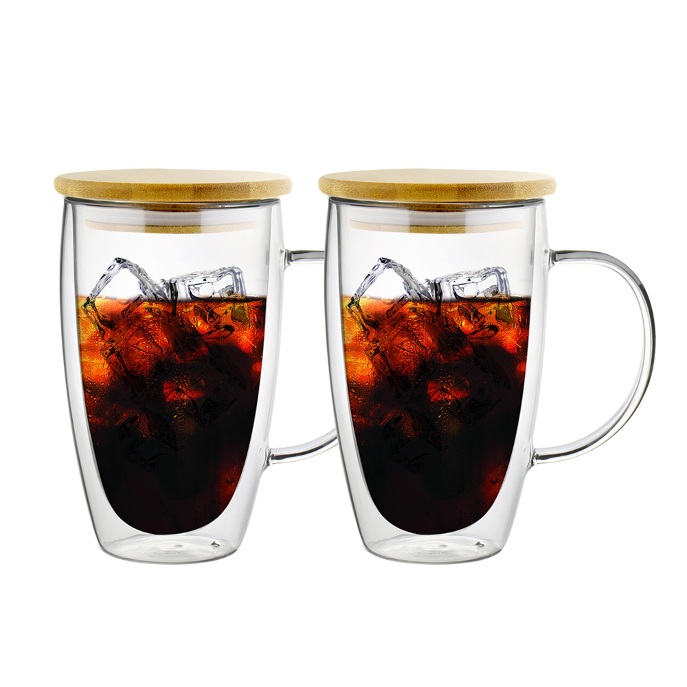 FUSHIMA富島 經典系列雙層耐熱玻璃杯460ML-把手(附專屬竹蓋)*2入