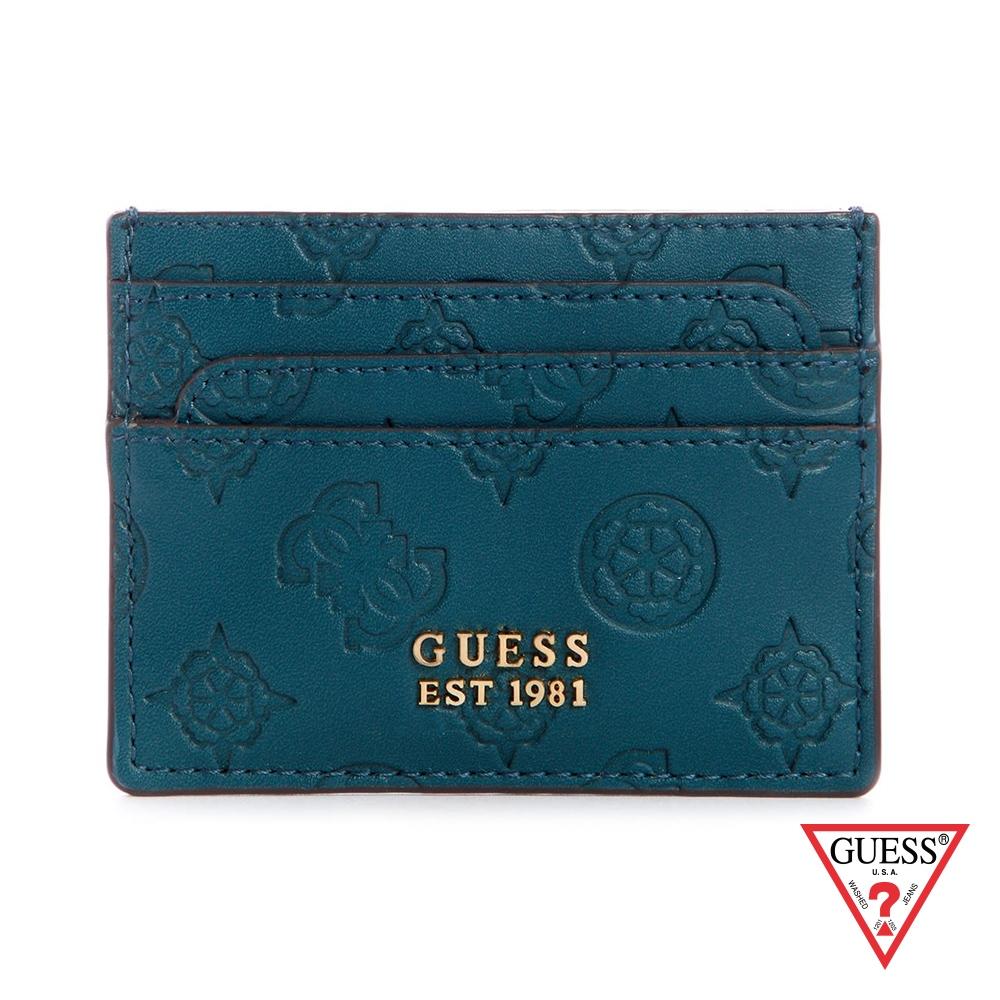 GUESS-女夾-壓紋金屬LOGO雙面卡夾-藍綠 原價990