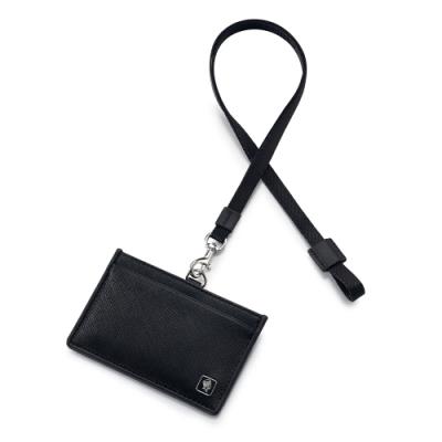 PORTER - 法式時尚BEND橫式掛繩證件套 - 黑