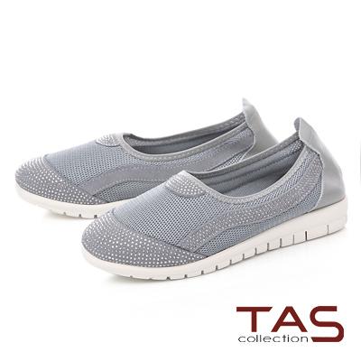 TAS水鑽拼接透氣網布懶人休閒鞋-氣質灰