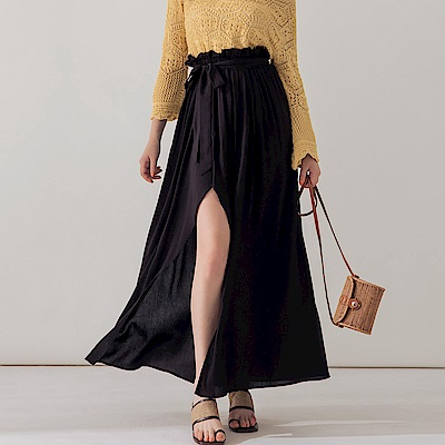 AIR SPACE 花苞設計棉質長裙(附綁帶)(黑)