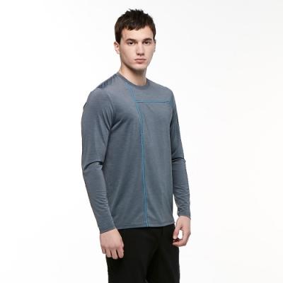 【HAKERS 哈克士】男 彈性吸濕排汗抗UV長袖上衣(海暴灰)