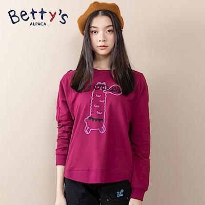 betty's貝蒂思 圓領小貝羊戴眼鏡長袖T-shirt(紅色)